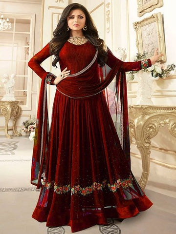 Buy Refind Maroon Anarkali Salwar Suit Online - YOYO Fashion