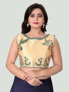 Turquoise Boat Neck Women's Stitched Blouse Online - YOYO Fashion