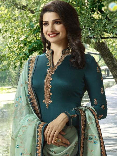 Buy Turquoise and CGreen Designer Straight Salwar Suit Online - YOYO Fashion