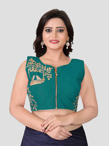 Buy Turquoise Embroidered Front Zipper Saree Silk Blouse Online - YOYO Fashion