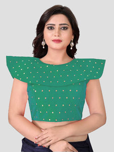 Buy Turquoise High neck saree Blouse Online from YOYO Fashion
