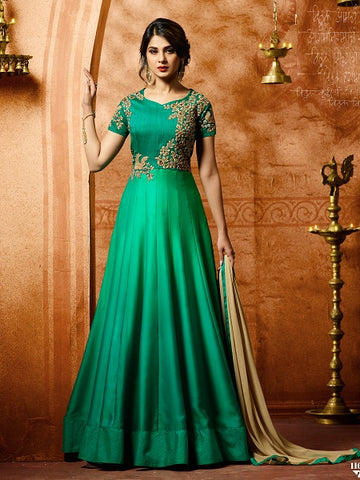 Buy Trendy Sea Green Anarkali Salwar Suit Online - YOYO Fashion