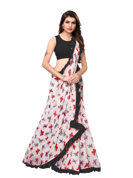 Buy White and Black Ruffle Printed Saree Online - YOYO Fashion