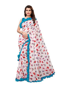 Buy White and Blue Ruffle Printed Saree Online - YOYO Fashion
