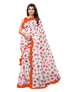 Buy White and Orange Ruffle Printed Saree Online - YOYO Fashion