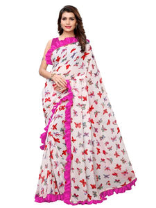 Buy White and Pink Ruffle Printed Saree Online - YOYO Fashion