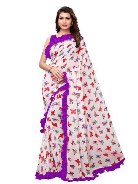 Buy White and Purple Ruffle Printed Saree Online - YOYO Fashion