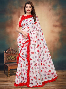 Buy White and Red Ruffle Printed Saree Online - YOYO Fashion