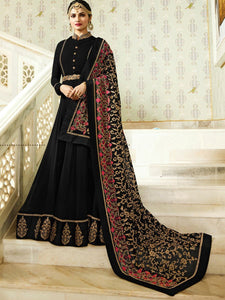 Faux Georgette Black Embroidered Anarkali Salwar Suit - YOYO Fashion