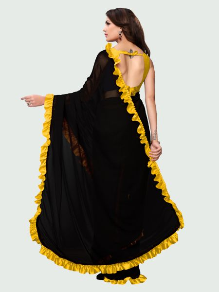 Pallu of Latest Yellow and Black Ruffle Saree for Women Online - YOYO Fashion