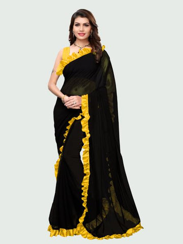 Buy Designer Yellow and Black Ruffle Saree Online in India from YOYO Fashion