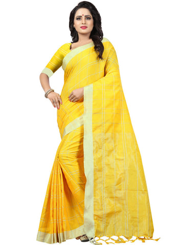 Shop Yellow Checked Linen Sarees Online from YOYO Fashion