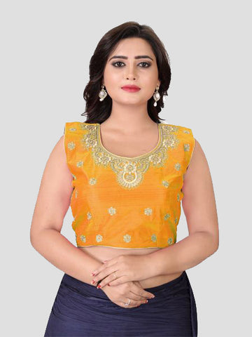 Buy Yellow Embroidered Silk Blouse Online from YOYO Fashion
