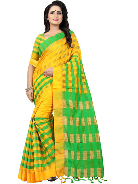 Shop Yellow and Green Striped Silk Saree Online from YOYO Fashion