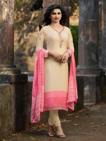 Shop Prachi Desai Beige Embroidered Straight Suit Online in India from YOYO Fashion