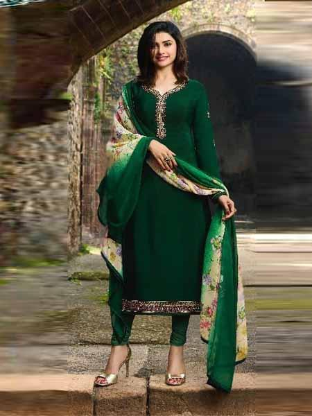Shop Prachi Desai Bottle Green Embroidered Straight Suit Online in India from YOYO Fashion