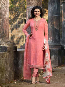 Shop Prachi Desai Peach Embroidered Straight Suit Online in India from YOYO Fashion