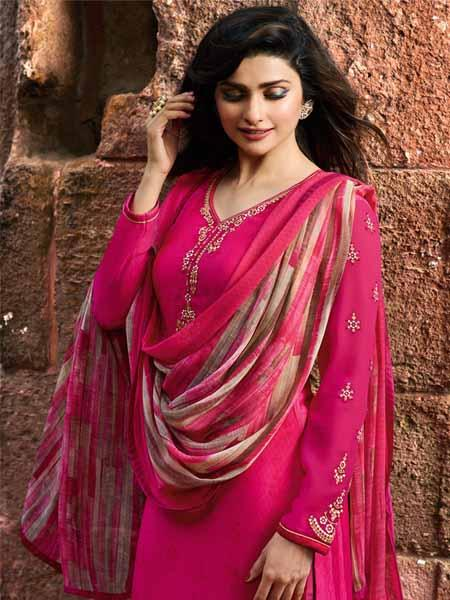 Front Neck Pattern of Prachi Desai Hot Pink Straight Cut Suit for Women - YOYO Fashion