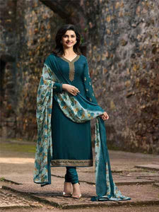 Shop Prachi Desai Turquoise Embroidered Straight Suit Online in India from YOYO Fashion