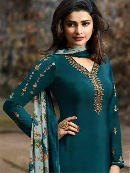Front Neck Pattern of Prachi Desai Turquoise Straight Cut Suit for Women - YOYO Fashion