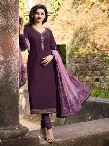 Shop Prachi Desai Wine Embroidered Straight Suit Online in India from YOYO Fashion
