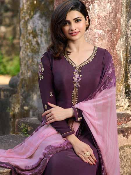 Front Neck Pattern of Prachi Desai Wine Straight Cut Suit for Women - YOYO Fashion