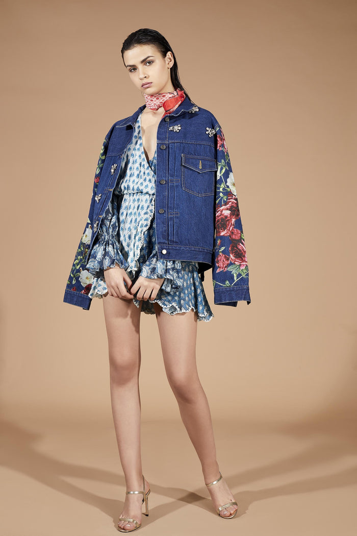 Floral Applique Denim Jacket