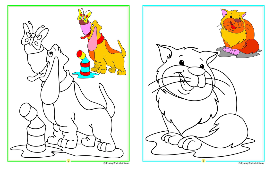 Children coloring books - Animals, fruits, flowers and birds (4 books)
