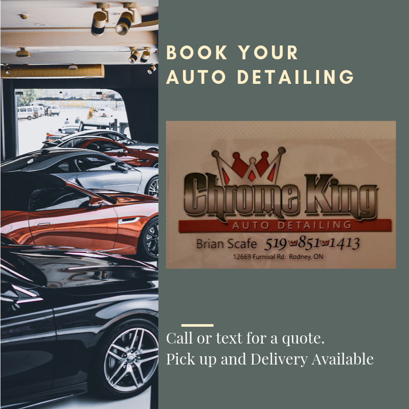 Booking next week for vehicle details.  Monday, Tuesday and Thursday available.  Call or text 519-851-1413.  Pick up and delivery available.
