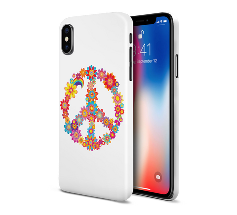 Colorful Peace Sign Flowers Phone Case for Apple iPhone, Samsung Galaxy, & Google Pixel