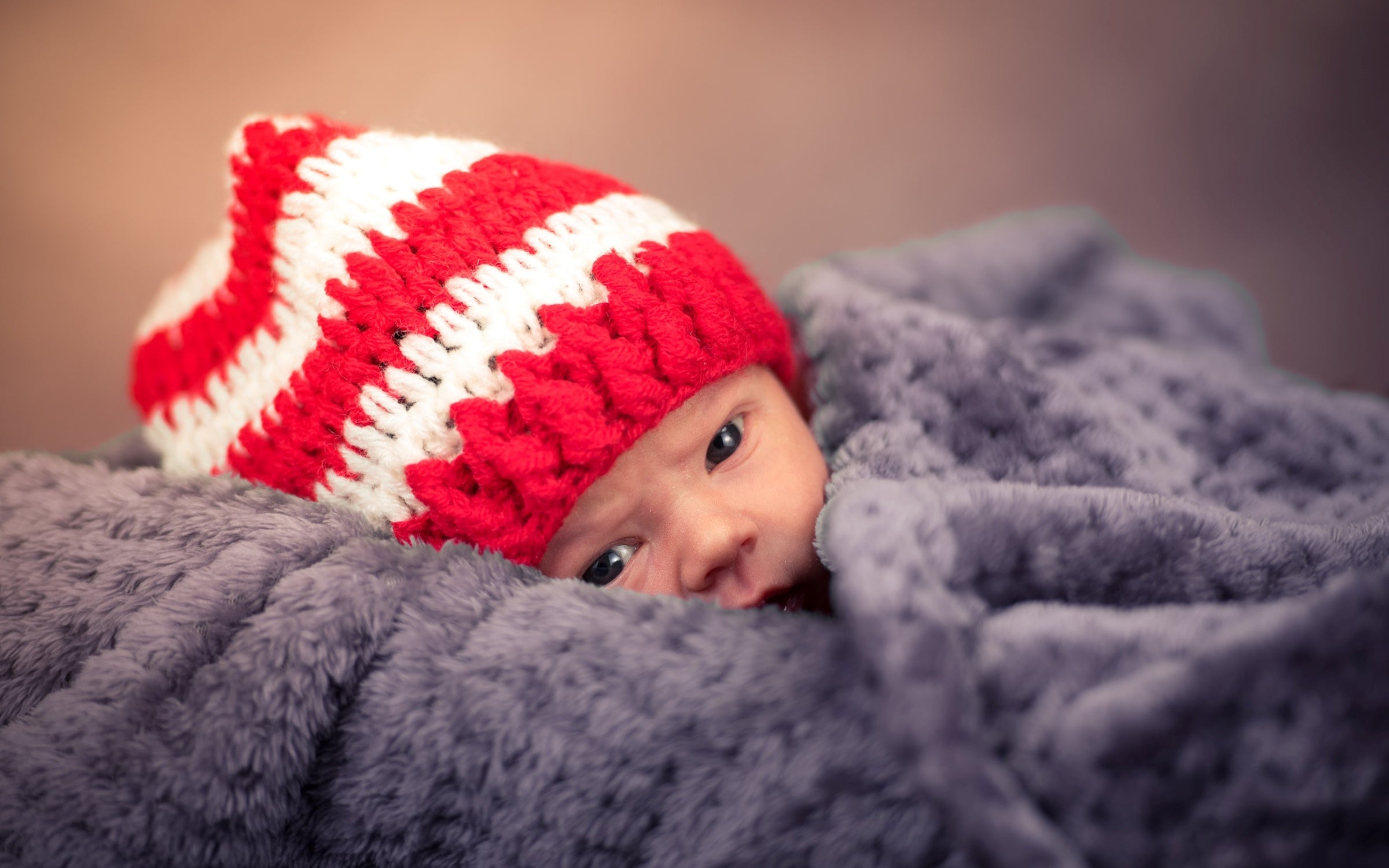 baby christmas hat in the blanket