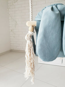 VELVET BUNNY WOODEN SWING - TEAL