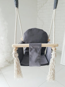 GRAPHITE VELVET BUNNY WOODEN SWING