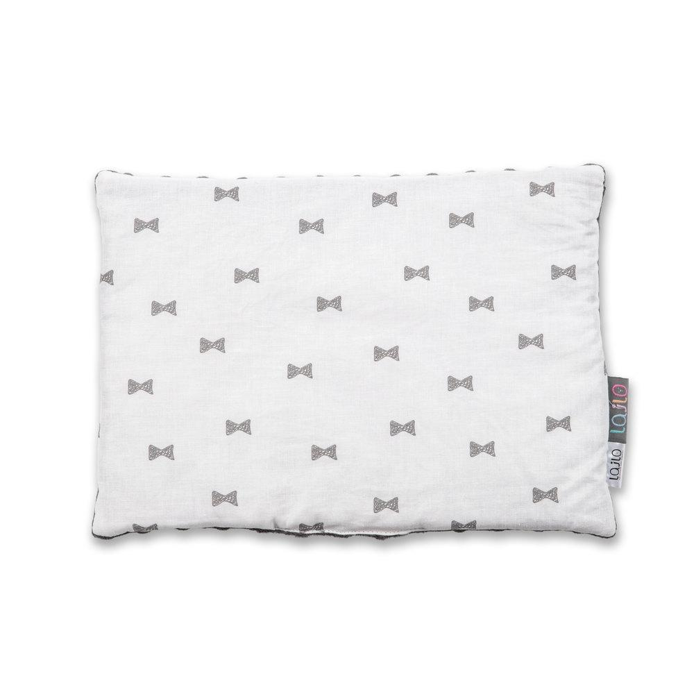 GREY BOWS BABY PILLOW WITH MINKY