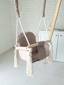 BUNNY WOODEN SWING - CAMEL
