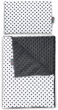 Load image into Gallery viewer, BLACK DOTTY NEWBORN BLANKET SET WITH MINKY