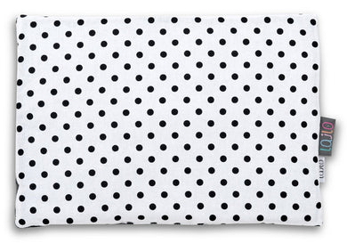 BLACK DOTTY FLAT PILLOW FOR NEWBORN WITH MINKY