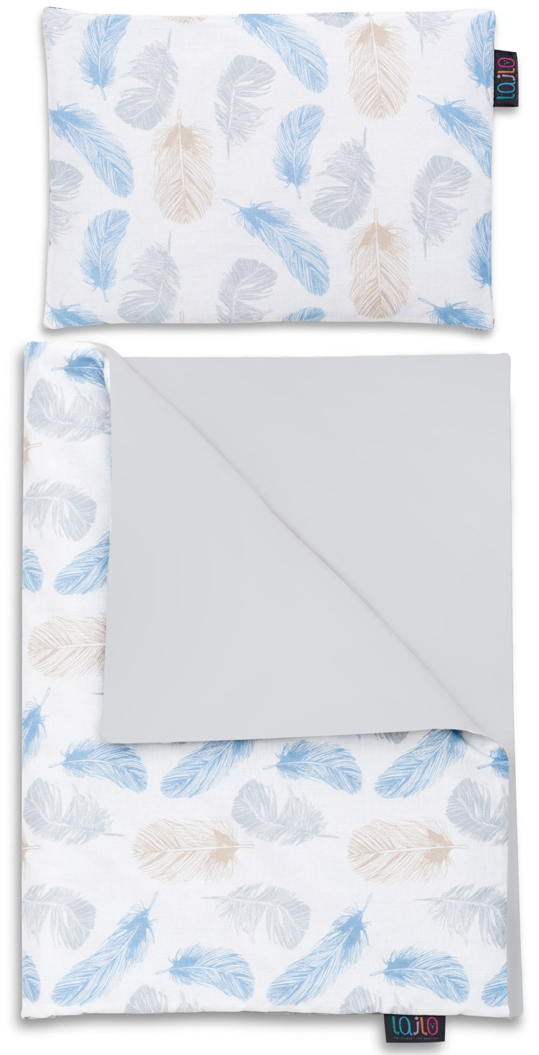 BLUE FEATHERS NEWBORN BLANKET SET