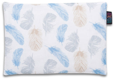 BLUE FEATHERS BABY PILLOW WITH MINKY