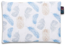 Load image into Gallery viewer, BLUE FEATHERS FLAT PILLOW FOR NEWBORN WITH MINKY