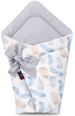 BLUE FEATHERS SWADDLE BLANKET