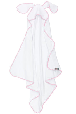 BUNNY STAR HOODED BABY TOWEL PINK