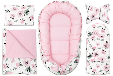 CORAL FLOWERS BABY NEST 5 ELEMENTS SET