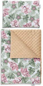 FLORAL NEWBORN BLANKET SET WITH MINKY