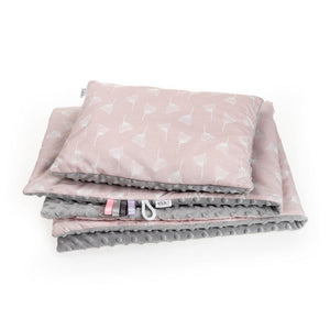 blanket and pillow -white dandelion on the pink cotton with grey minky backing