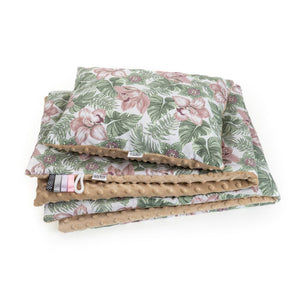 FLORAL BLANKET SET WITH MINKY