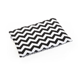 blanket and the pillow- black and white zig zag with grey minky