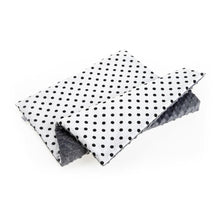 Load image into Gallery viewer, BLACK DOTTY BABY BLANKET WITH MINKY