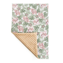 Load image into Gallery viewer, FLORAL BLANKET SET WITH MINKY