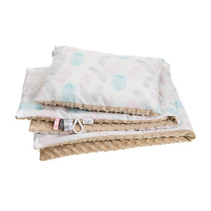 TURQUOISE FEATHERS NEWBORN BLANKET SET WITH MINKY